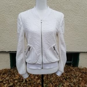 Fate white textured lightweight jacket